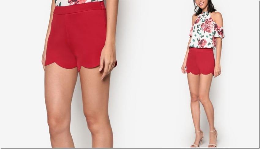 red-scallop-hem-shorts