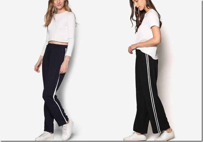 Sporty Athleisure Style Pants With Vertical Side Stripes