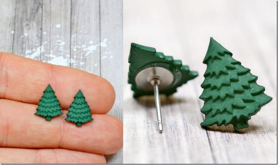 tiny-dark-green-christmas-tree-earrings