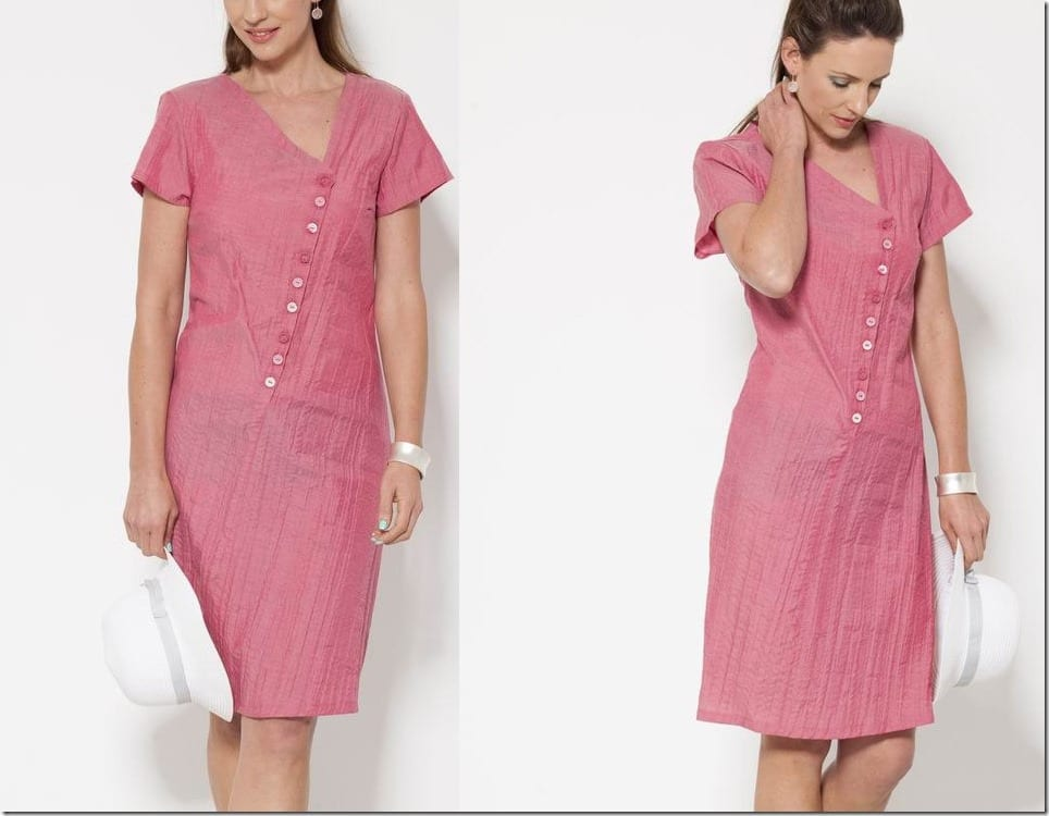 front-button-asymmetric-neck-pink-midi-dress