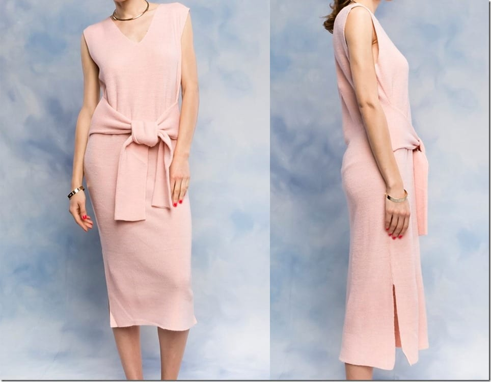 pink-v-neck-waist-tie-midi-dress
