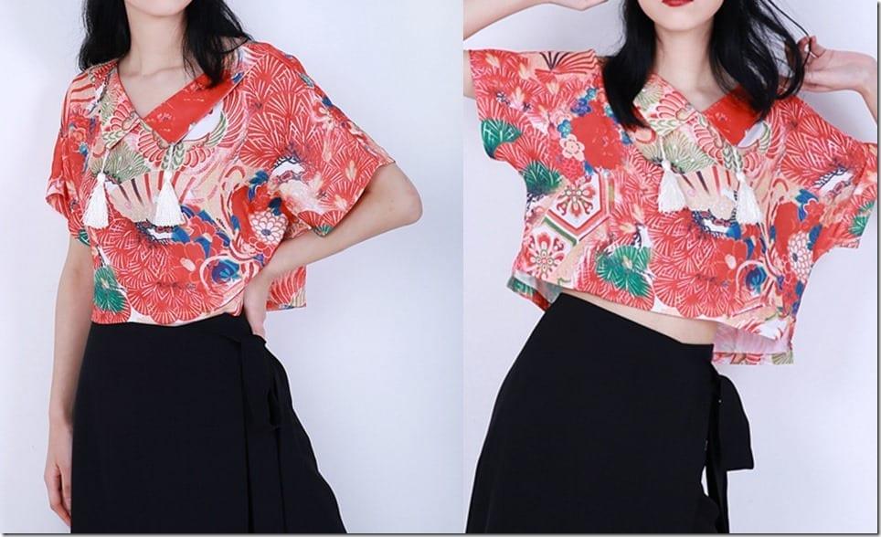 red-floral-tassel-collar-kimono-top
