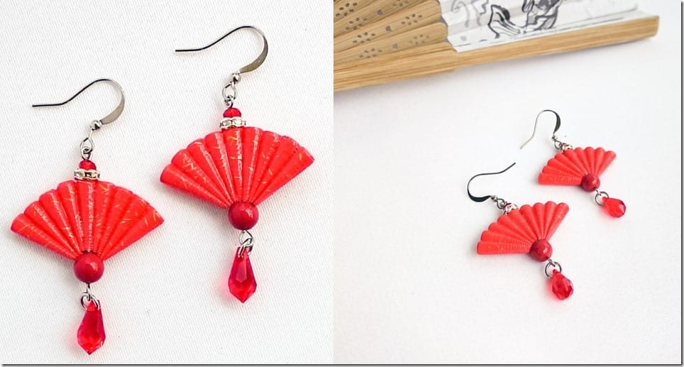 red-japanese-origami-fan-earrings