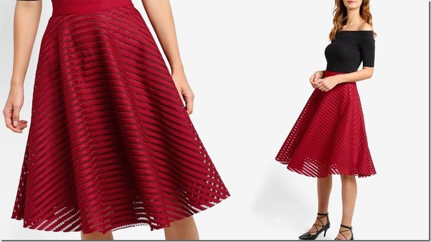 red-mesh-stripe-midi-skater-skirt