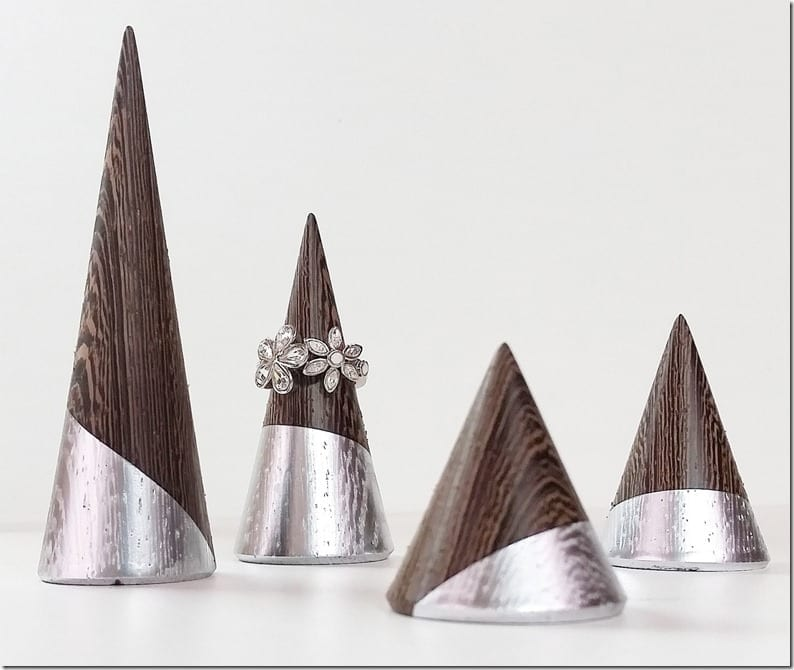 silver-wooden-ring-cone-set