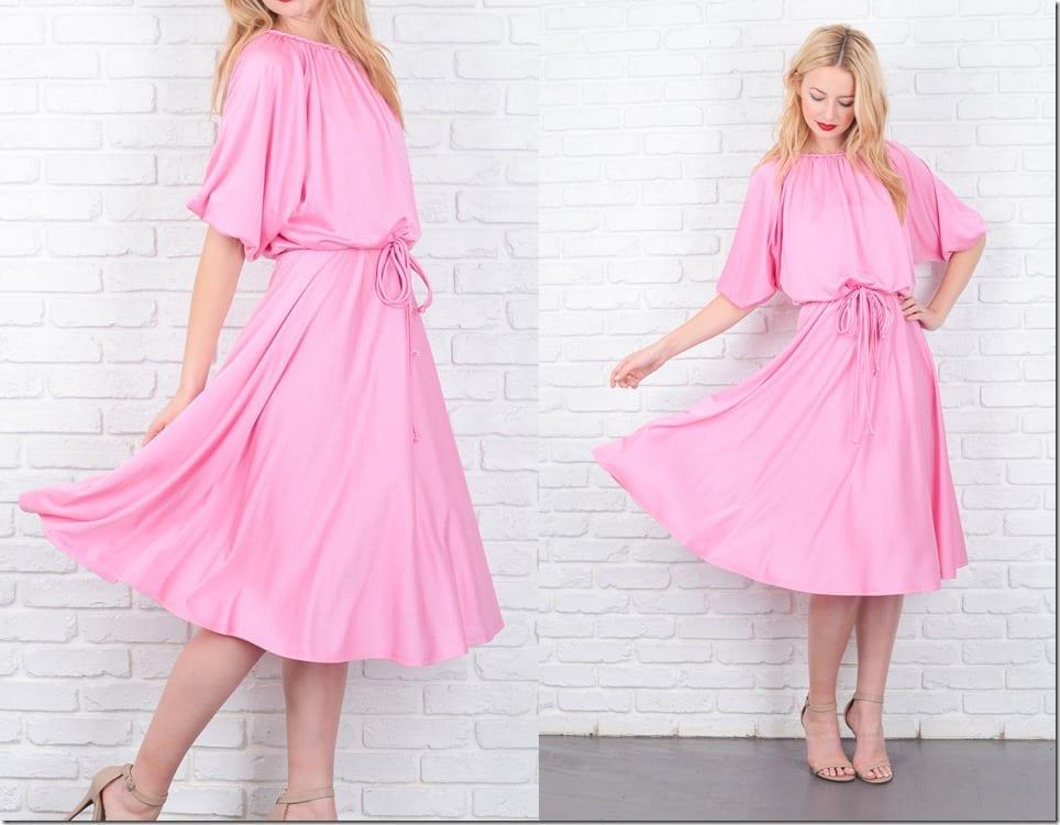 vintage-70s-pink-draped-midi-dress