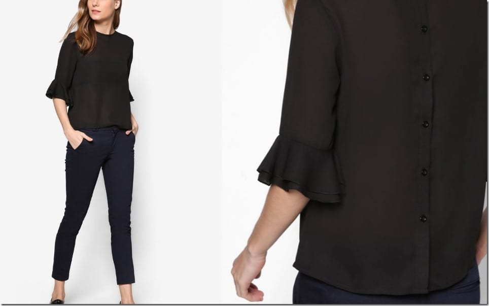 black-frill-sleeve-blouse
