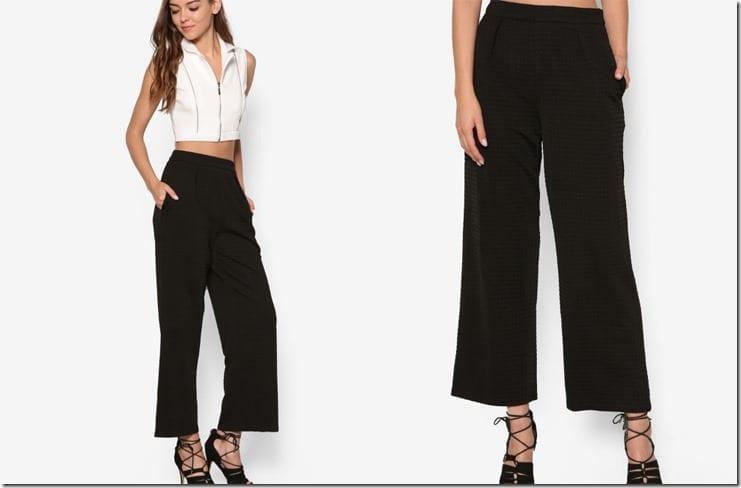 black-waffle-texture-palazzo-pants