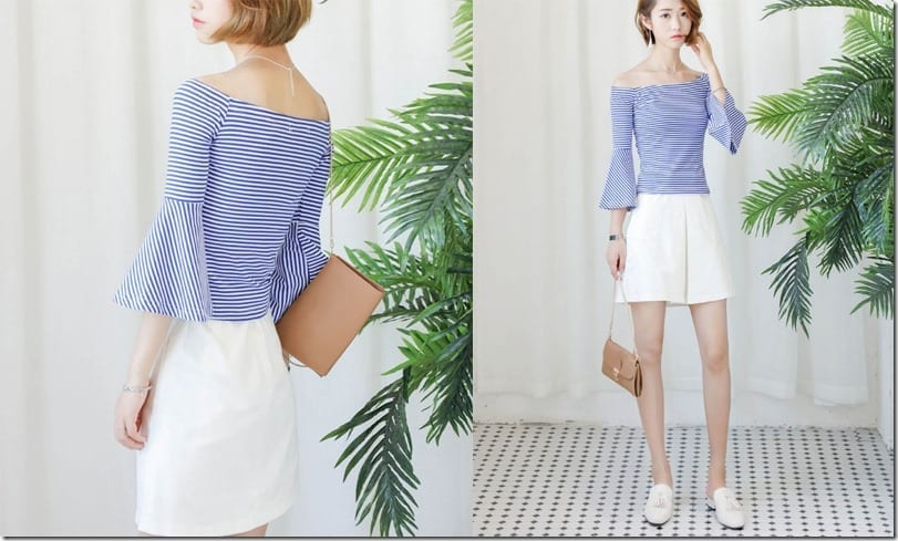 blue-stripe-flared-sleeve-off-shoulder-top