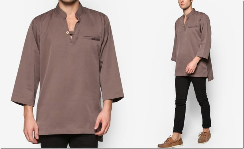 brown-stand-collar-button-v-neck-kurta