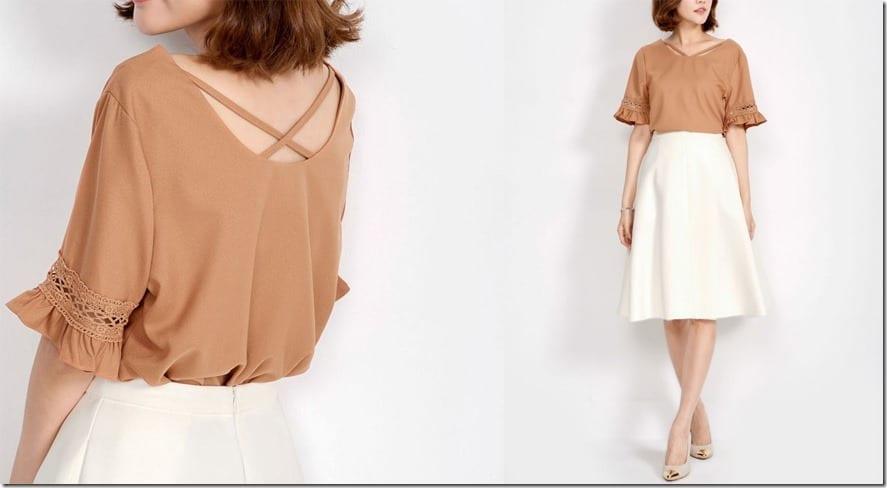 brown-v-cut-crochet-detail-blouse