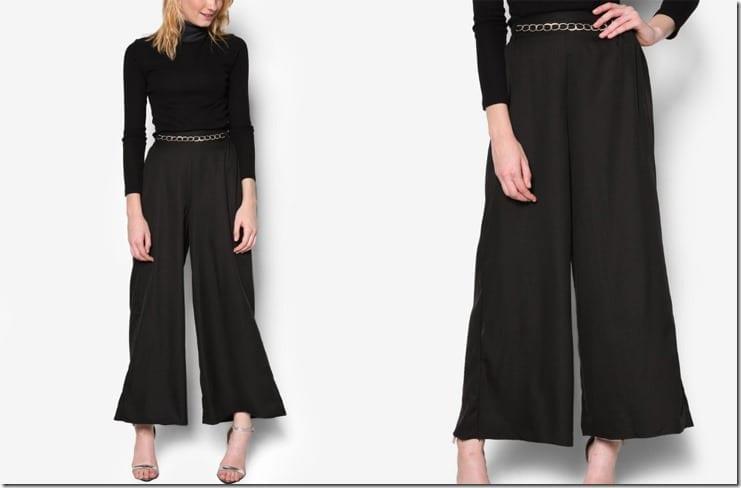 chain-embellished-waist-palazzo-pants