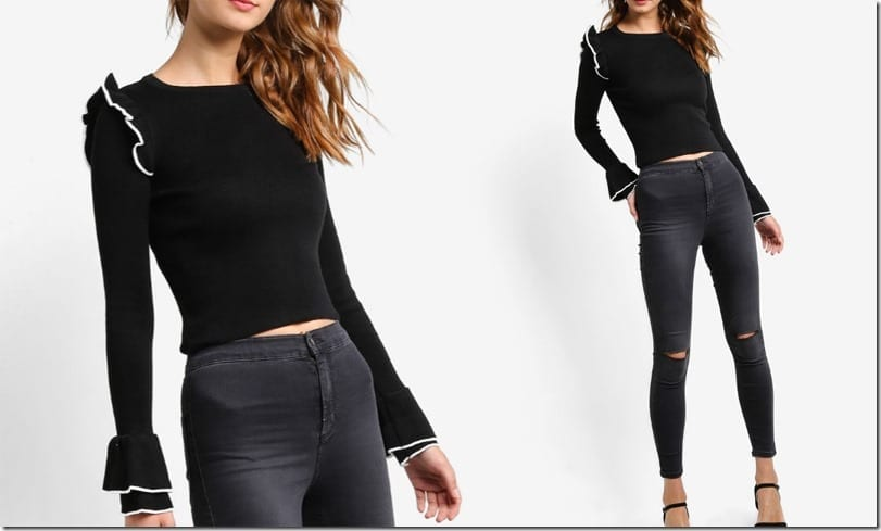 long-sleeve-frilly-black-crop-top