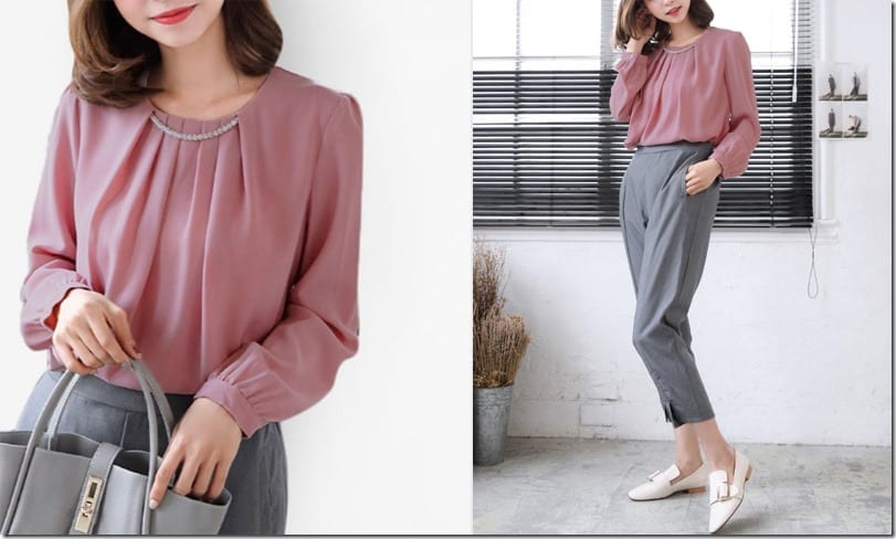 pink-pleated-neckline-blouse