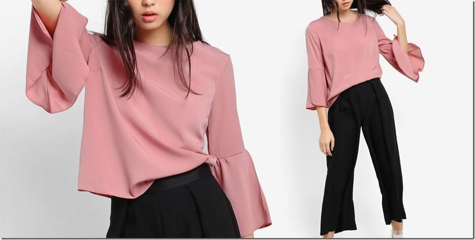 pink-trumpet-sleeve-blouse