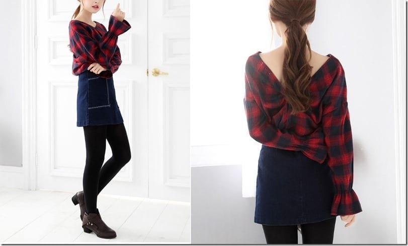 plaid-v-back-ruffle-sleeve-top