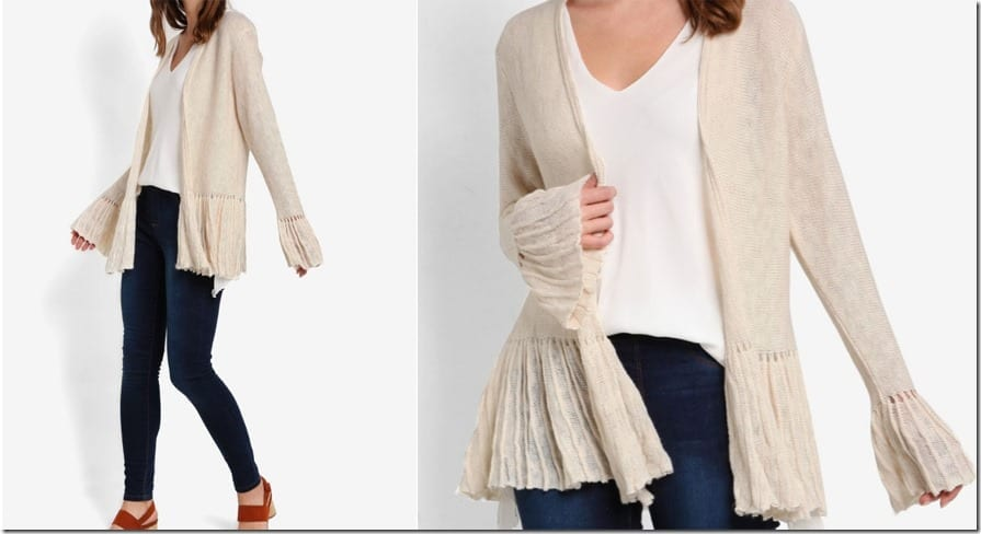 ribbed-knit-flare-sleeve-cardigan