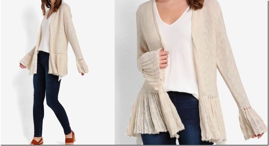 ribbed-knit-flare-sleeve-cardigan