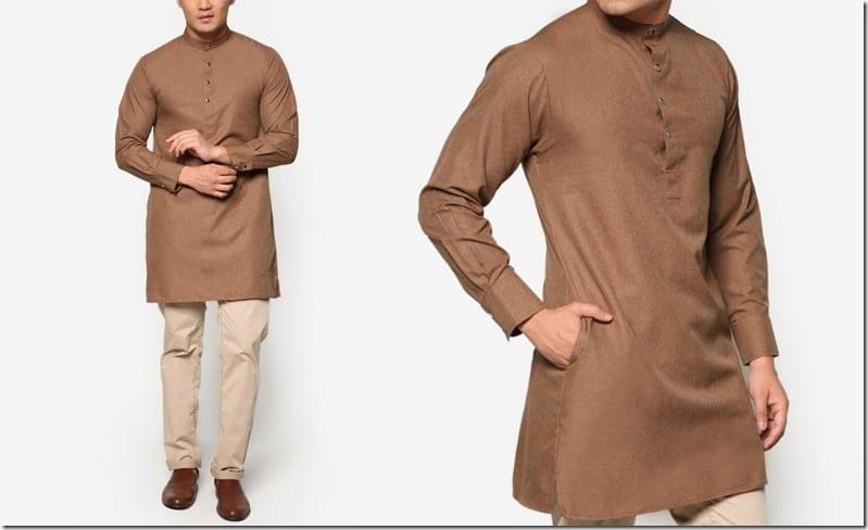 stand-collar-brown-kurta-top
