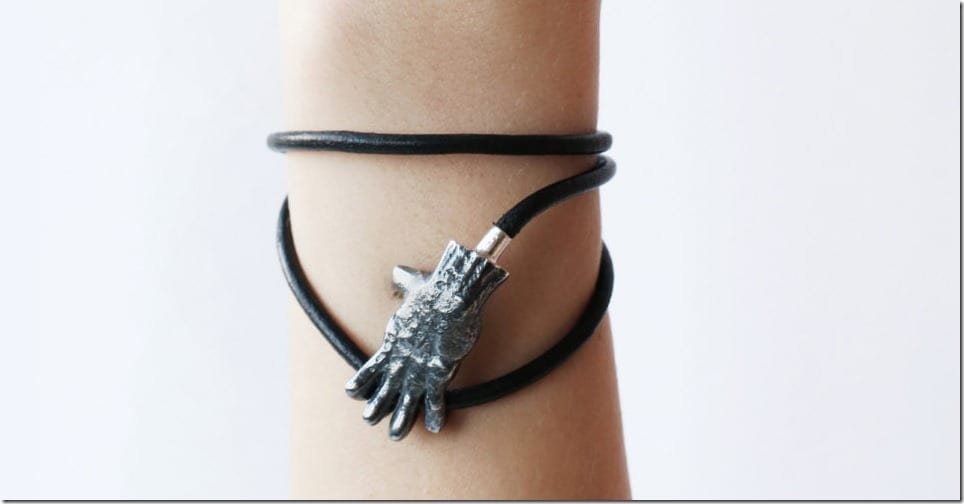 unisex-silver-hand-leather-bracelet