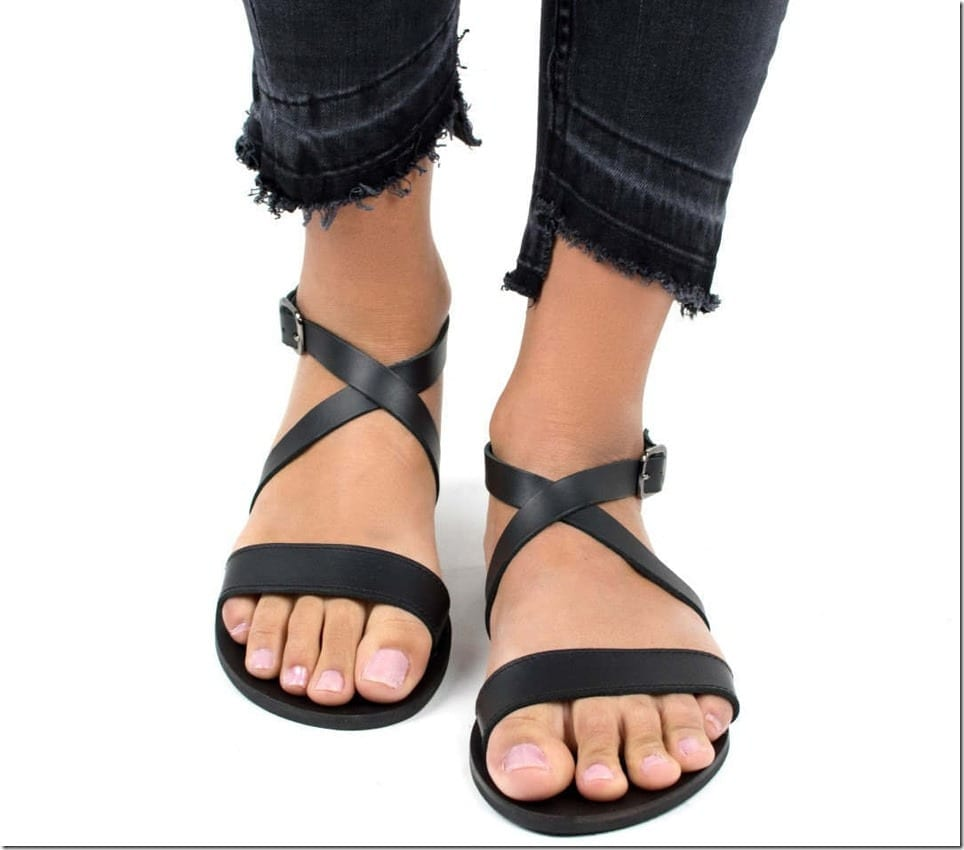 black-cross-strap-leather-sandals
