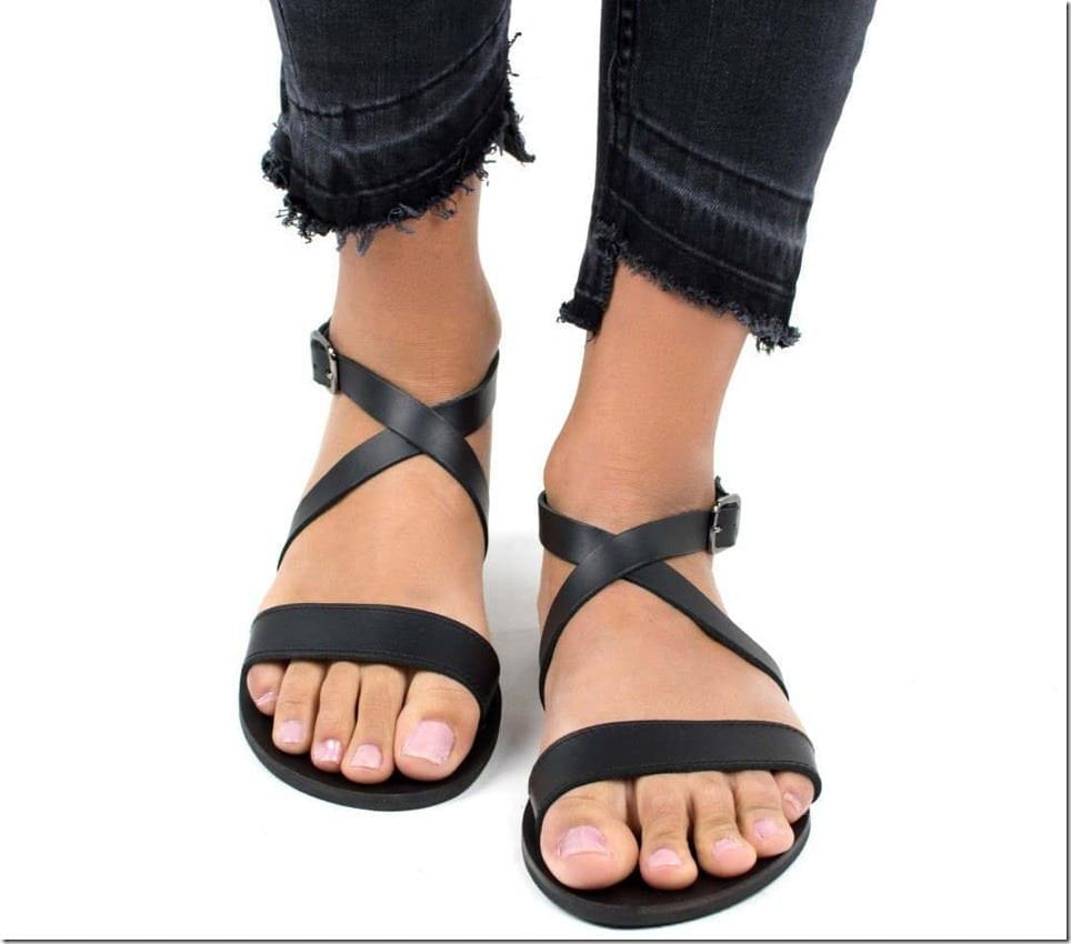black-cross-strap-leather-sandals