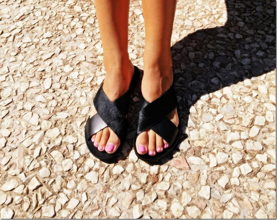 black-cross-strap-leather-slides