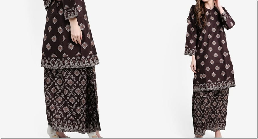 brown-songket-print-cotton-kurung