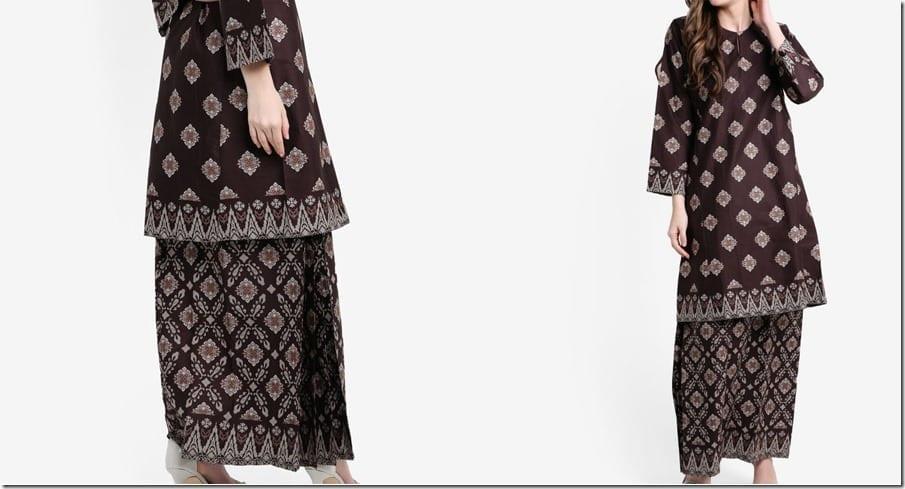 brown-songket-print-cotton-kurung