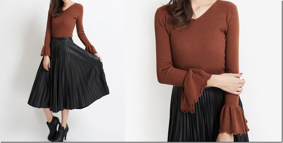 brown-v-neck-bell-sleeve-top