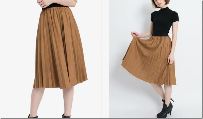 contrast-waist-brown-pleated-skirt
