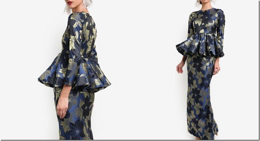 floral-navy-gold-folded-peplum-kurung