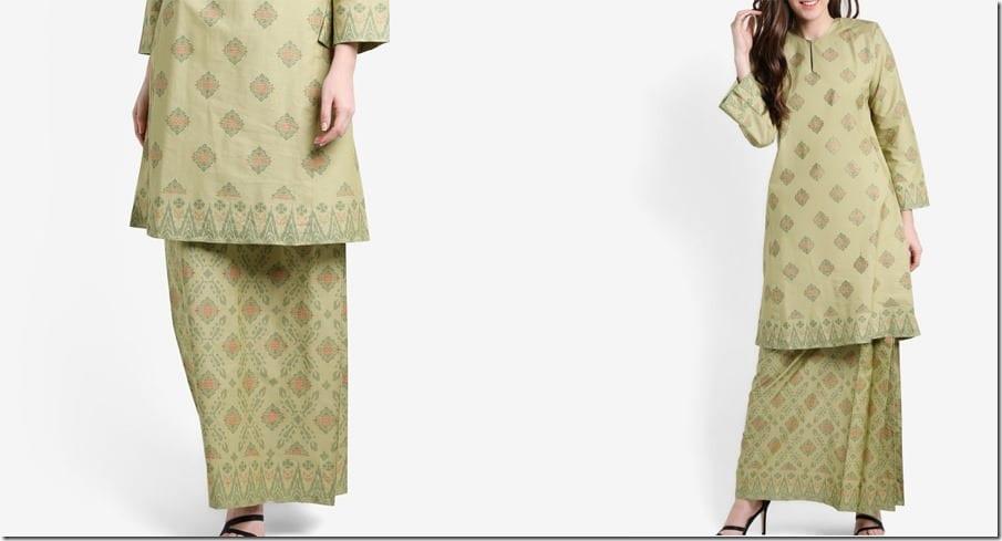 green-songket-print-cotton-kurung