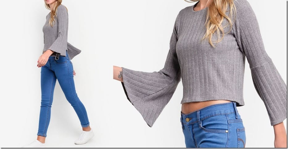 grey-flare-sleeve-knit-top