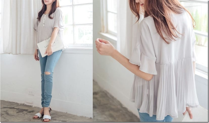 grey-frilly-pleated-blouse