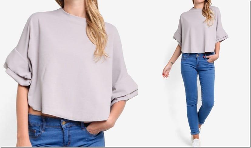 grey-layered-sleeve-boxy-crop-top
