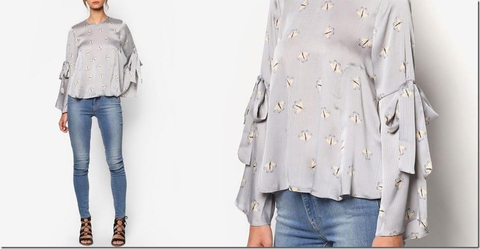 grey-moth-print-tie-sleeve-blouse