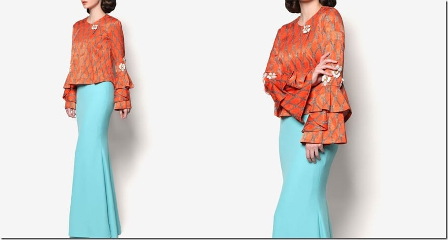 modern-orange-blue-kurung-statement-sleeves