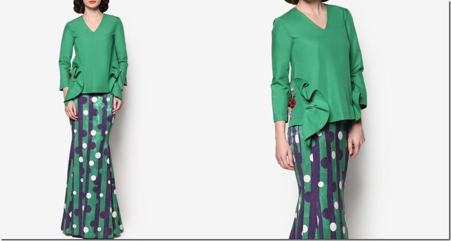 retro-green-embellished-ruffle-modern-kurung