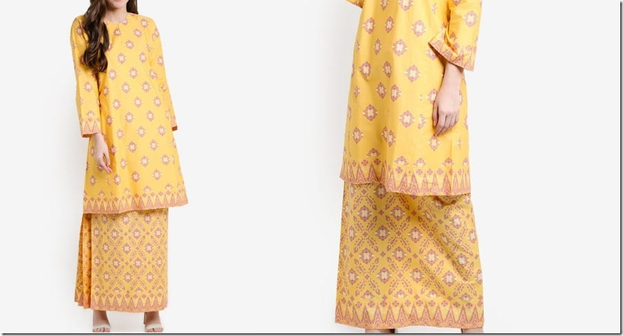 yellow-songket-print-cotton-kurung