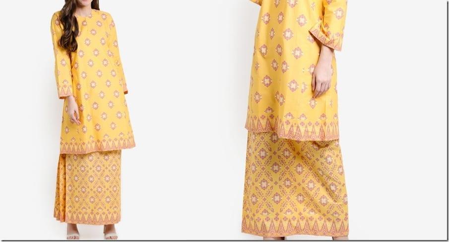yellow-songket-print-cotton-kurung