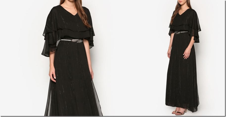 black-layered-cape-maxi-dress
