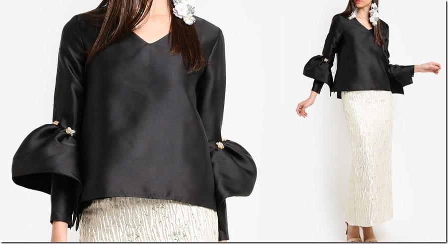black-structured-bell-sleeve-top