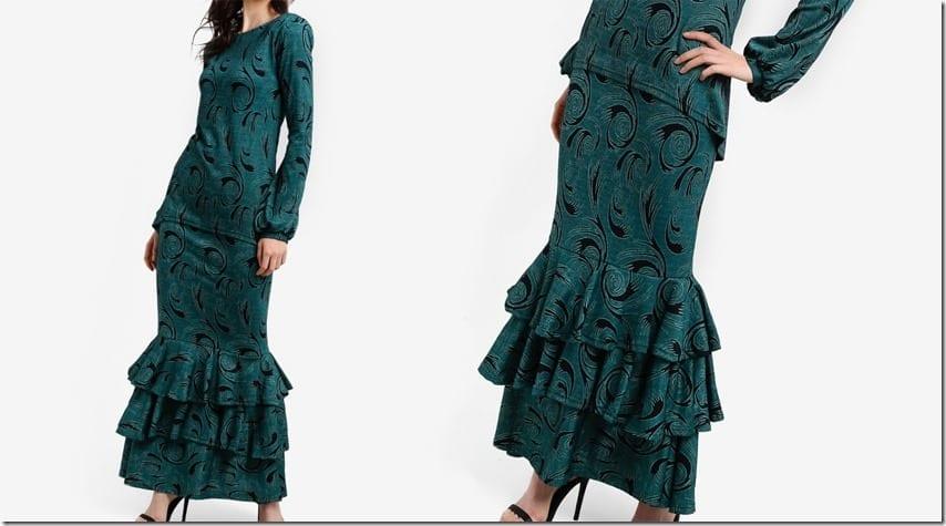 green-print-mullet-midi-skirt