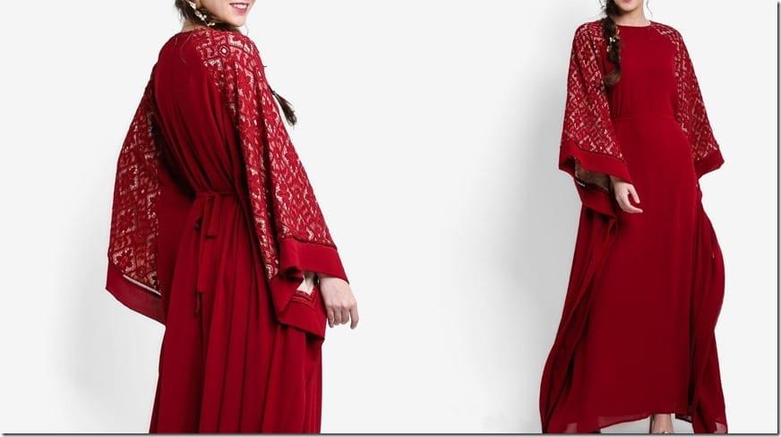 lace-sleeve-burgundy-kaftan-dress