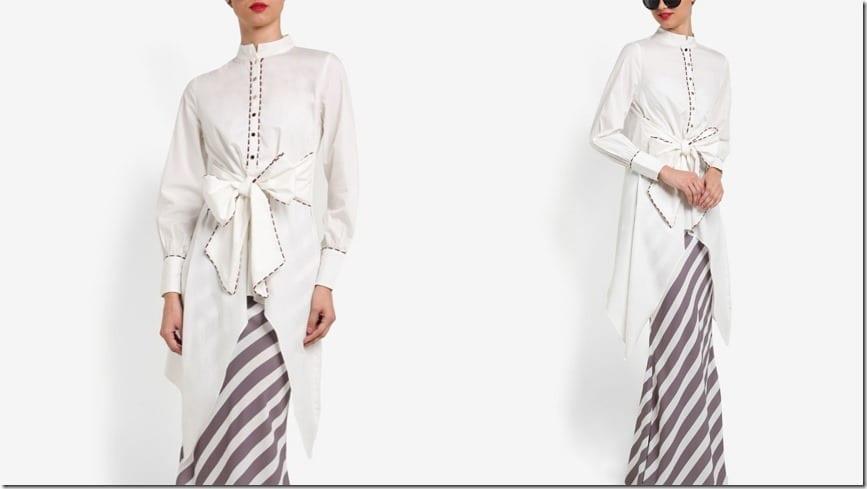 mandarin-collar-bow-waist-stripe-kurung