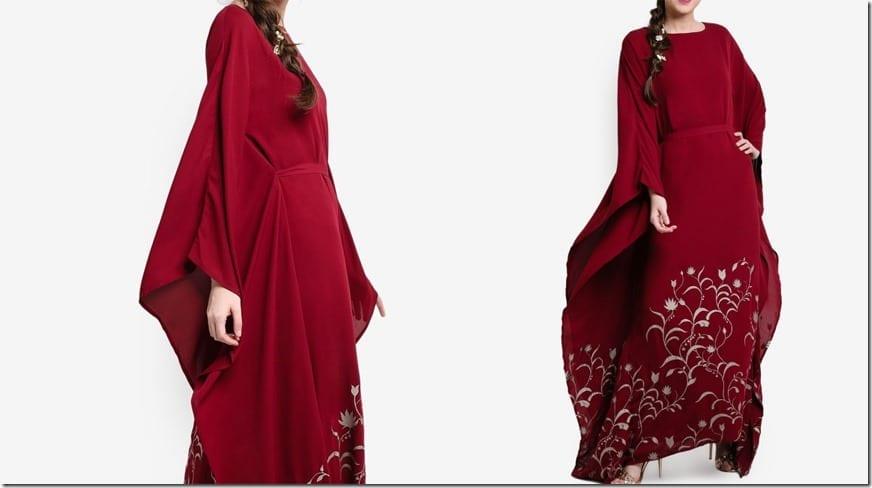 maroon-foil-print-kaftan-dress