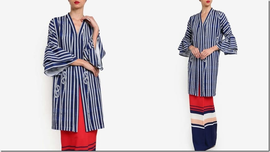 nautical-knot-stripe-print-bell-sleeve-kurung