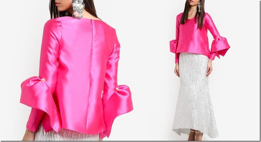 pink-structured-bell-sleeve-top