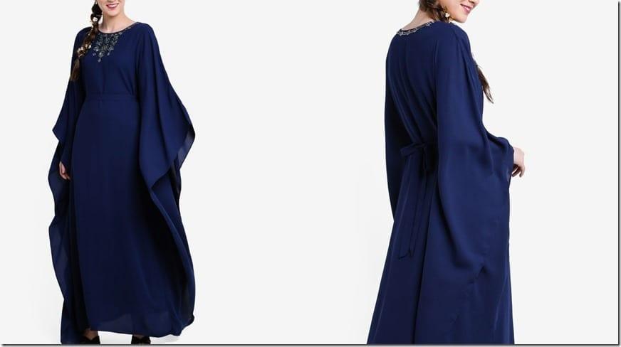 tribal-neck-embellished-navy-kaftan-dress